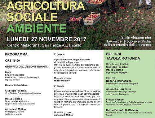 Lavoro Agricoltura sociale Ambiente. Giornata di riflessione il 27 novembre al Centro Melagrana