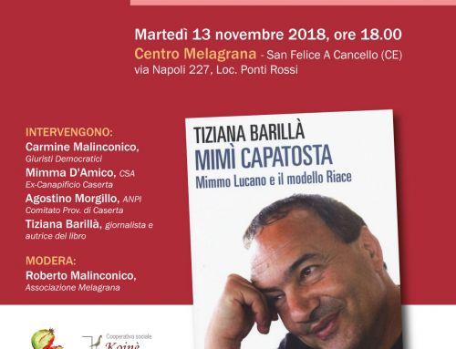 Il libro su Mimmo Lucano il 13 novembre al Centro Melagrana, con ANPI, CSA ex-canapificio e Giuristi Democratici.