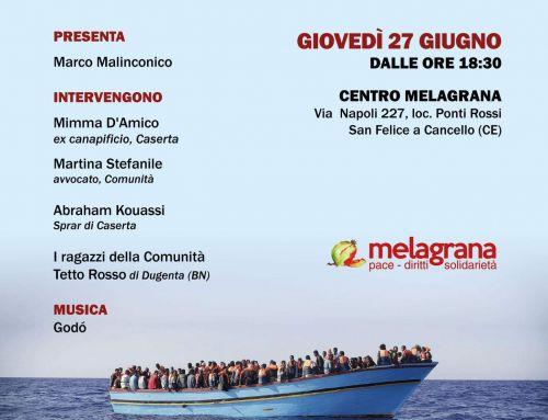 Giovedì 27 giugno Suono d'Oltremare al Centro Melagrana, per parlare di immigrazione, accoglienza e integrazione.